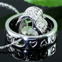 Кулон Heart Pendant Necklace use Swarovski Crystal SN222