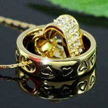 Кулон Heart Gold Pendant Necklace use Swarovski Crystal SN227