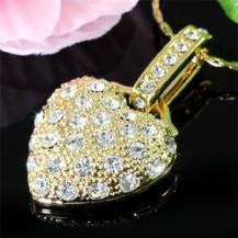 Кулон Heart Gold Plated Necklace use Swarovski Crystal SN234