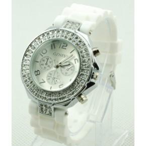 Часы со стразами Geneva Crystal женева Белые