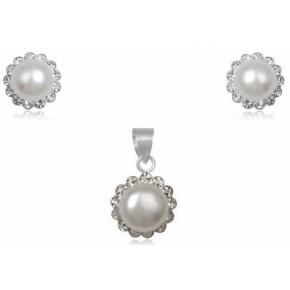 Набор TN392. Натуральный жемчуг, серебро 925