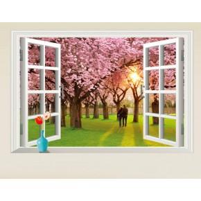 Интерьерная наклейка на стену Пара в саду сакуры (AY9234E)