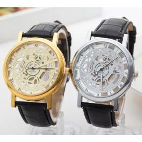 Часы мужские Скелетон золотистые с черным ремешком