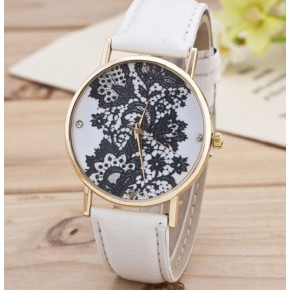 Часы Женева Geneva Кружево белый ремешок