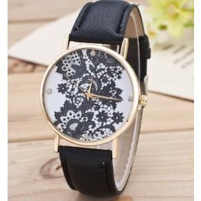 Часы Женева Geneva Кружево черный ремешок