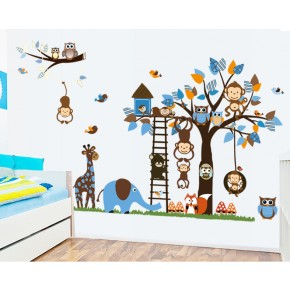 Интерьерная наклейка на стену в детскую - Дружные Зверята (AL201)