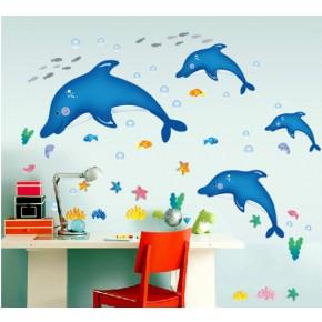Интерьерная наклейка на стену Дельфины (AY7177)