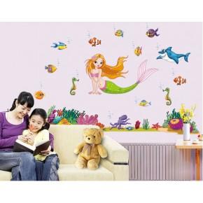 Детская Интерьерная наклейка Русалочка (JM7292)
