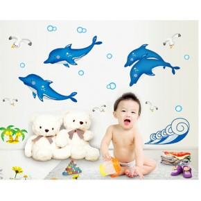Интерьерная наклейка на стену Дельфины светящиеся ABQ7601Y