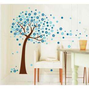Интерьерная наклейка на стену Дерево Голубые Цветы AY9026B