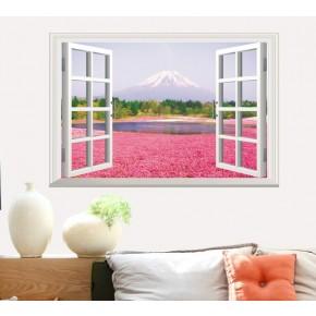 Интерьерная наклейка на стену Распахнутой окно на гору AY9234A