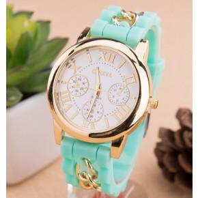 Часы Женева с силиконовым ремешком и цепочкой Мята