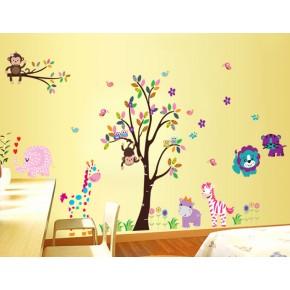 Интерьерная наклейка на стену в детскую - Зверята Джунгли (DF5099)
